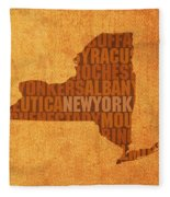 New York Word Art State Map On Canvas Fleece Blanket by Design Turnpike