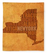 New York Word Art State Map On Canvas Fleece Blanket
