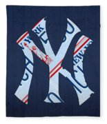 New York Yankees Baseball Team Vintage Logo Recycled Ny License Plate Art Fleece Blanket