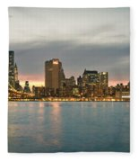 New York City - Brooklyn Bridge To Manhattan Bridge Panorama Fleece Blanket