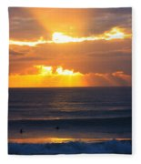 New Zealand Surfing Sunset Fleece Blanket