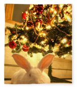 New Zealand White Rabbit Under The Christmas Tree Fleece Blanket