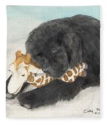 Newfoundland Dog In Snow Stuffed Animal Cathy Peek Art Fleece Blanket