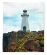 Lighthouse On Cliff Fleece Blanket