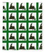 Newfoundland Tartan Map Blocks Green Trim Fleece Blanket