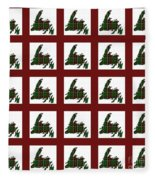 Newfoundland Tartan Map Blocks Red Trim Fleece Blanket