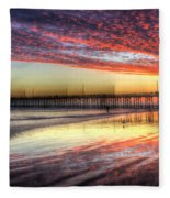 Newport Beach Pier Sunset Fleece Blanket