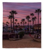 Newport Beach Sunset Fleece Blanket