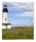 Newport Oregon Yaquina Lighthouse Fleece Blanket