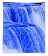 Niagara Falls Closeup In Blue Fleece Blanket