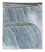 Niagara Falls Contour Drawing Effect Fleece Blanket