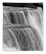 Niagara Falls In Black And White Fleece Blanket