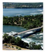 Niagara River And Goat Island Aerial View Fleece Blanket