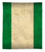 Nigeria Flag Vintage Distressed Finish Fleece Blanket