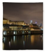 Night At Fairmount Waterworks And The Philadelphia Art Museum Fleece Blanket
