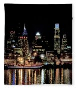Night At Penn's Landing - Philadelphia Fleece Blanket