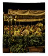 Night At The Cafe - Taormina - Italy Fleece Blanket