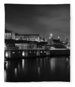 Night At Waterworks In Black And White Fleece Blanket