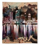 Night City Reflections Watercolor Painting Fleece Blanket