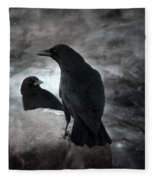 Mysterious Night Crows Fleece Blanket