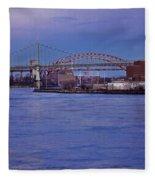 Night Descends Over The Triboro Bridge - Nyc Fleece Blanket