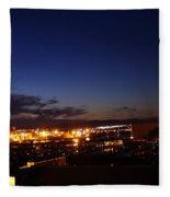 Night Falls At Old Port Of Quebec Fleece Blanket