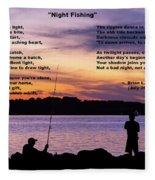 Night Fishing - Poem Fleece Blanket
