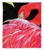 Night Flamingo Fleece Blanket