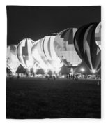 Night Glow Hot Air Balloons Bw Fleece Blanket