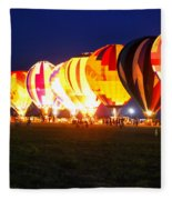 Night Glow Hot Air Balloons Fleece Blanket