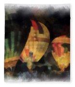 Night Glowing Hot Air Balloons Photo Art Fleece Blanket