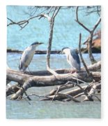 Night Herons Fleece Blanket