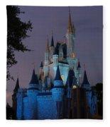 Night Illuminates Cinderella Castle Fleece Blanket