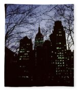 Night Lights Empire State Two Trees Fleece Blanket
