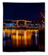 Night Lights On The Amsterdam Canals 1. Holland Fleece Blanket