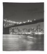 Night - New York City - Brooklyn Bridge Fleece Blanket