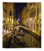 Night On The Canal - Venice - Italy Fleece Blanket