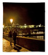 Night On The Charles Bridge Fleece Blanket