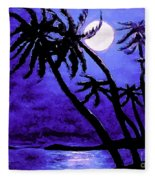 Night On The Islands Painterly Brushstrokes Fleece Blanket