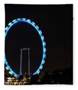 Night Shot Of The Singapore Flyer Ferris Wheel At Marina Bay Fleece Blanket