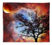 Night Sky Landscape Art By Sharon Cummings Fleece Blanket