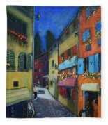 Night Street In Pula Fleece Blanket