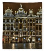 Night Time In Grand Place Fleece Blanket