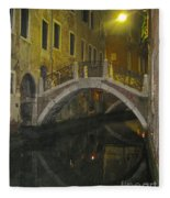 Night Time In Venice Fleece Blanket