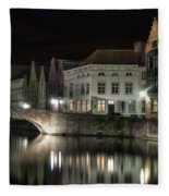 Night Time On The Canal Fleece Blanket