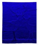 Night View With Deers Digital Painting Fleece Blanket