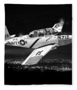 Night Vision Beechcraft T-34 Mentor Military Training Airplane Fleece Blanket
