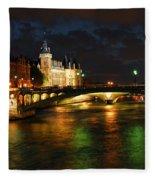 Nighttime Paris Fleece Blanket