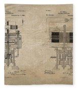 Nikola Tesla's Electrical Generator Patent 1894 Fleece Blanket
