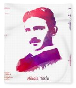 Nikola Tesla Patent Art Apparatus For Aerial Transportation  Fleece Blanket